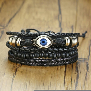 Braided Wrap Leather Bracelet set for Men