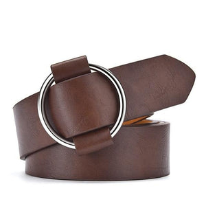 Round Buckle Leather Belts for Women