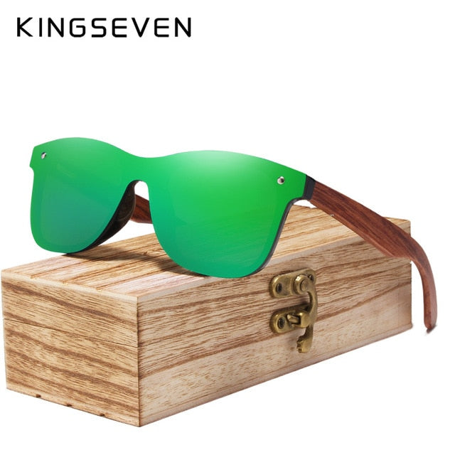 KINGSEVEN Unisex  - Rimless Polarized Wood Sunglasses