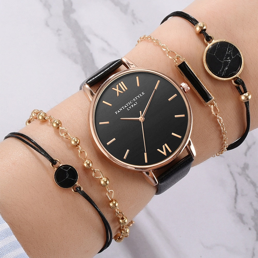 Black Charm - Women 5 Piece Wristwatch & Bracelet set