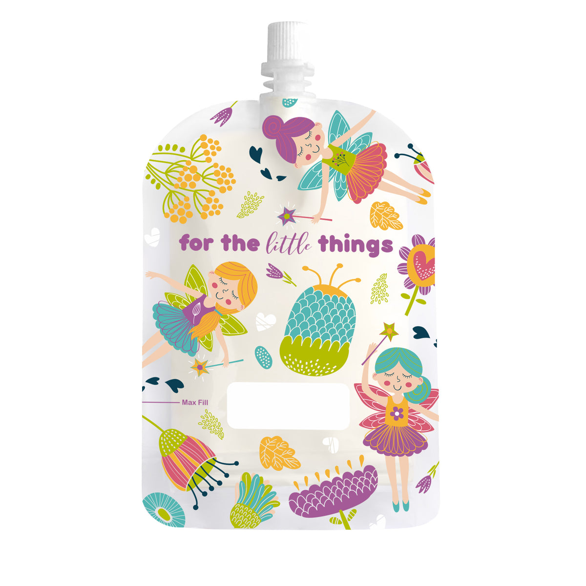 Sinchies Reusable Food Pouches - 150mL Fairies print - 10 Pack