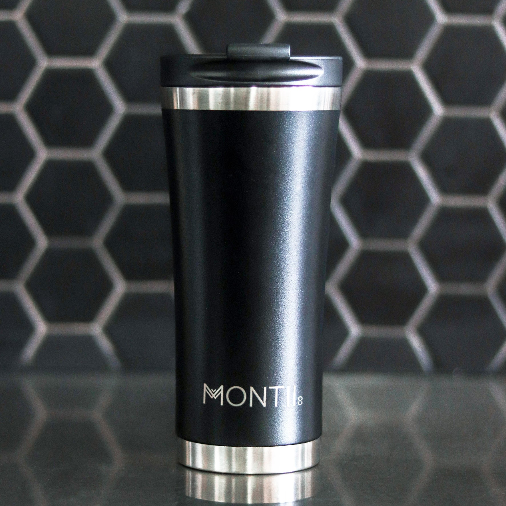 MontiiCo Mega Coffee Cup - Black-Drink Bottle-Lunchbox Mini
