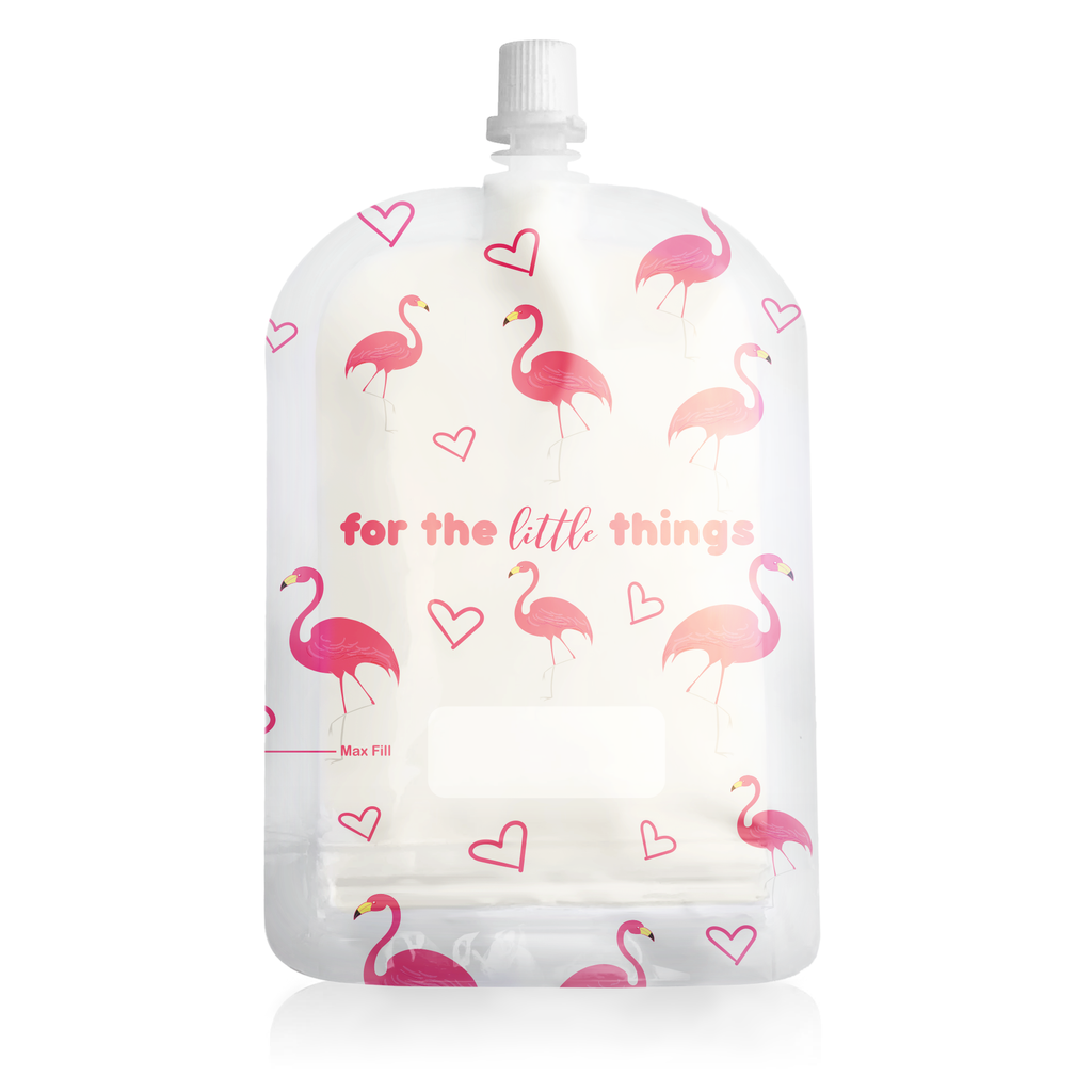 Sinchies Reusable Food Pouches - 150mL Flamingo Print - 5 Pack