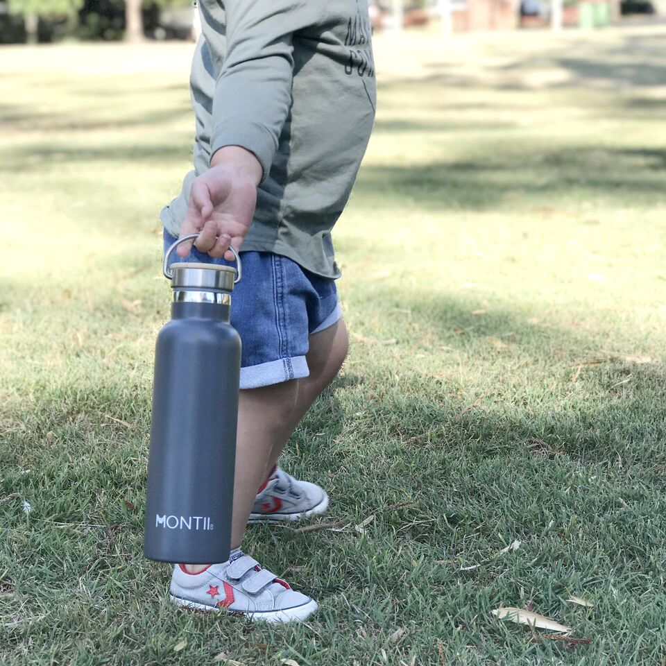MontiiCo Insulated Drink Bottle, 600mL - Grey