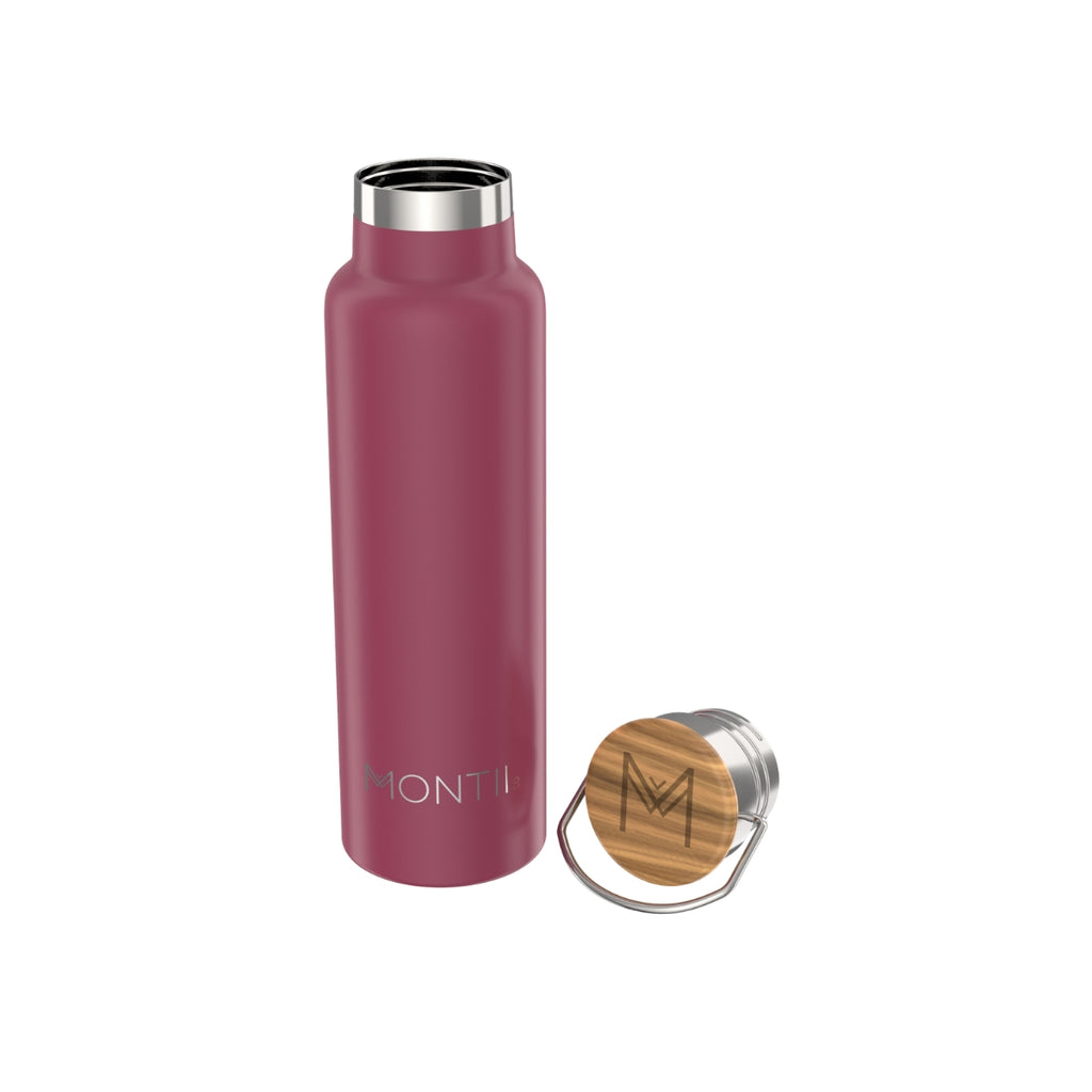 MontiiCo Insulated Drink Bottle, 600mL - Burgundy