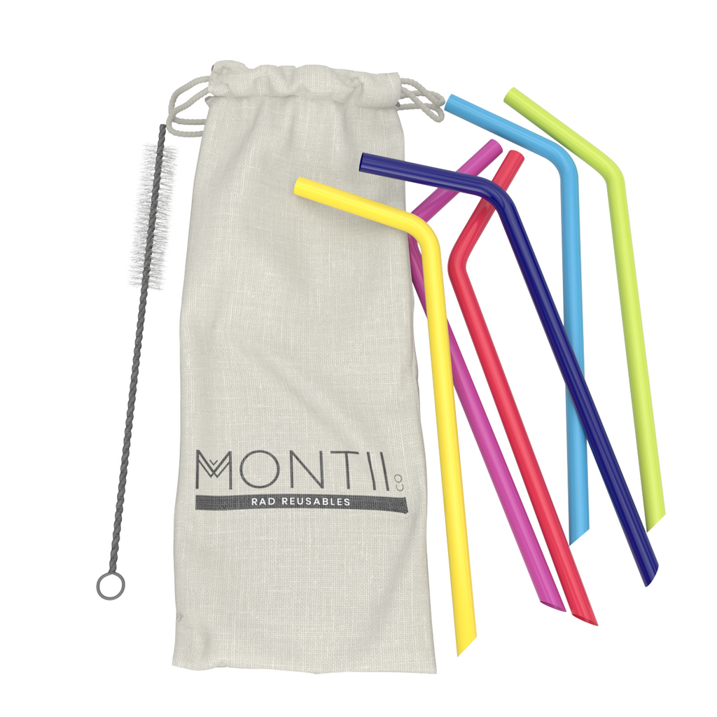 MontiiCo Reusable Rainbow Silicone Straw Set - 6 Pack