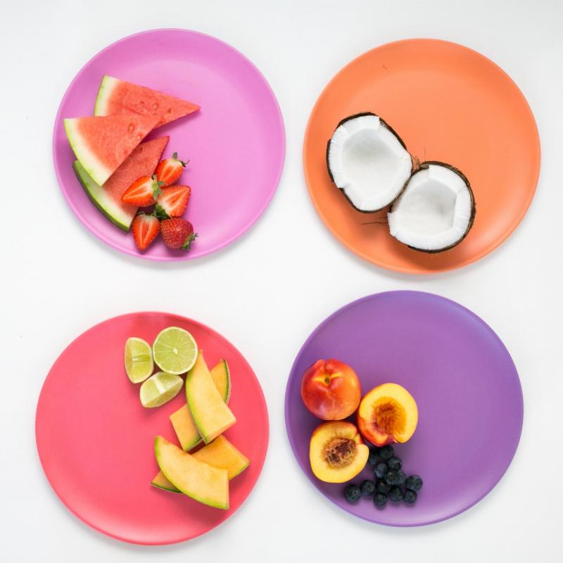 bobo&boo Big Kid-Sized Bamboo Plates - Set of 4 - Sunset-Lunchbox Mini