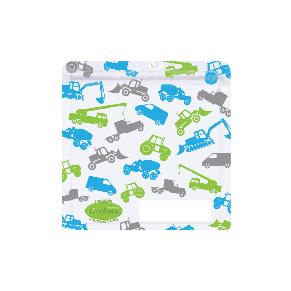 Reusable Sandwich Bags - Trucks - 10 Pack