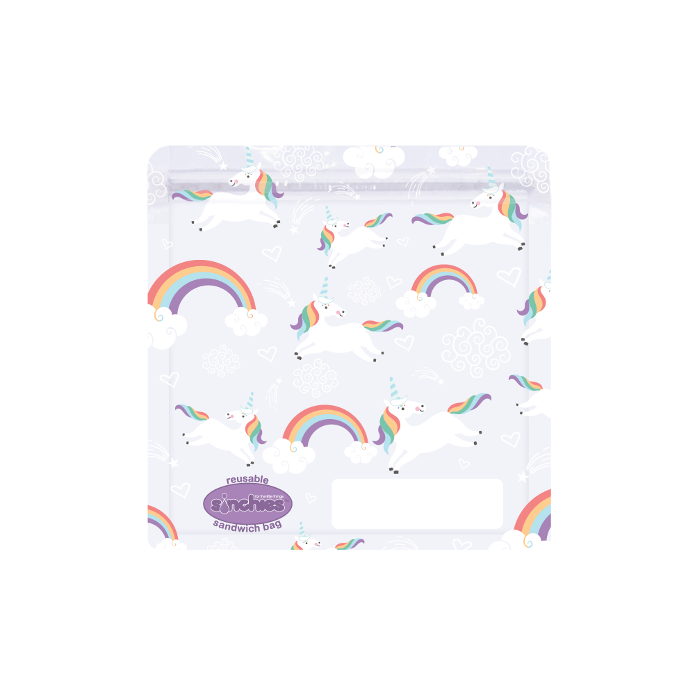 Sinchies Reusable Sandwich Bags - Unicorns - 5 Pack-Food Pouches-Lunchbox Mini