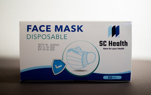 50 Pack Disposable Blue 3-Ply Face Mask with Nylon Earloops