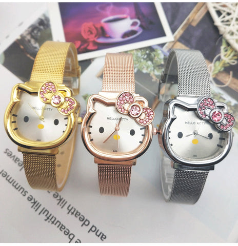 Kids Cartoon Student Watch Clock Children Girls Lovely Rose Seel Wrist Watches Crystal Boys Watch Clock Hot dames horloges