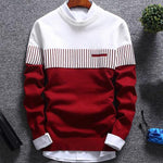 Hot Fashion Men Color Block Patchwork O Neck Long Sleeve Knitted Sweater Top Blouse Polyester Spandex Casual Warm Men's Sweater