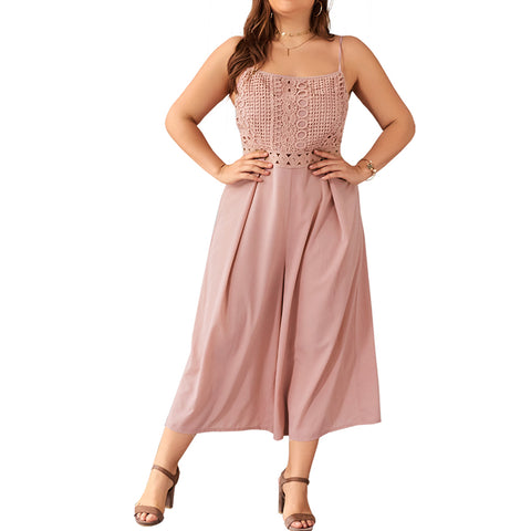 6XL Plus Size Jumpsuit Women Summer Spaghetti Strap Lace Pink Rompers Casual Loose Overalls Playsuit Wide Leg Pant Jumpsuits 30
