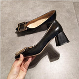 EOEODOIT Square Heels Pointed Toe Pumps Shoes Women Spring Leather Med Heels V Mouth  Casual Office Lady OL Shoes 5 cm Heel