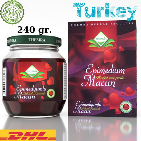 Themra Epimedium Turkish Honey Mix Macun Horny Goat Weed Ginseng Herbal Aphrodisiac– Turkish Paste, 240gr., %100 Halal