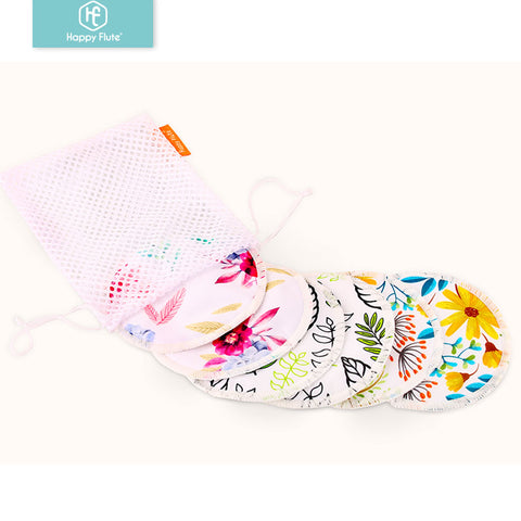 HappyFlute Bamboo Breast Pad Nursing Pads For Mum Waterproof Washable Feeding Pad Bamboo Reusable Breast Pads with Laundry Bag