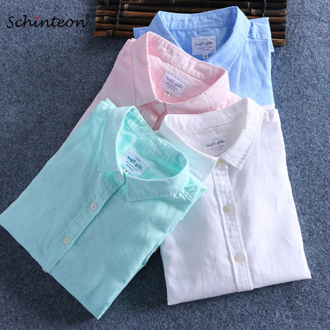 Schinteon Men Spring Summer Cotton Linen Shirt Slim Square Collar Comfortable Undershirt Male Plus Size
