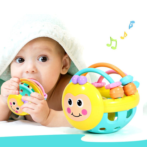 1 Pc Cartoon Bee Hand Knocking Rattle Dumbbell Soft Rubber Early Educational Toy For Kid Hand Bell Baby Toy FREE SHIPPING