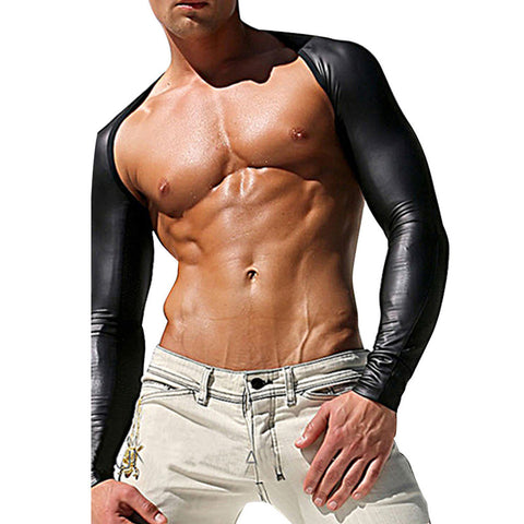 Gay Chest Harness Bondage Harnas Tops Mesh PU Leather Long Sleeve Sexy Costume Shoulder Harness Latex Wetlook Clubwear Cuero 2XL