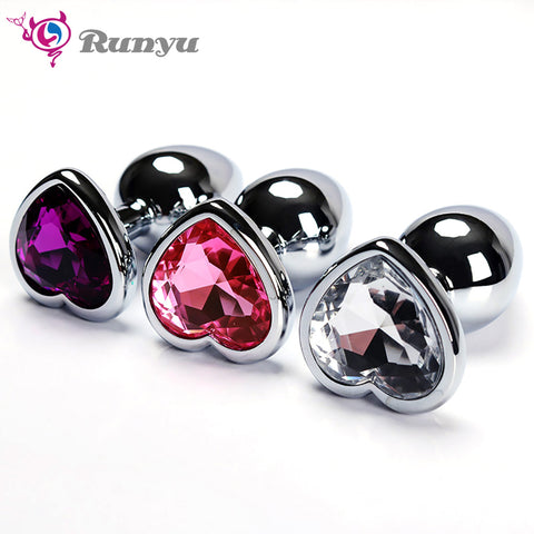 Anal Plug Sex Toys Stainless Smooth Steel Butt Plug Tail Crystal Jewelry Trainer For Women/Man Anal Dildo Runyu Adults Sex Shop