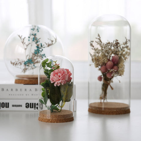 Glass Dome Display Wood Cork Bell Jar Cover Cloche Display With Wooden Base Height 8cm Table Decoation Craft