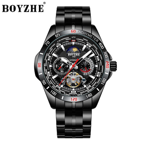 BOYZHE Luxury Brand Tourbillon Automatic Watch Men Mechanical Self-Wind Mens Watches 24 hours Luminous Casual horloges mannen