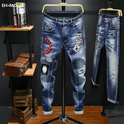 EH · MD® Hole-lined Printed Letter Jeans Men's Embroidery Splashing Ink Soft Casual Loose Cotton Elastic Trousers Badge Red Ears