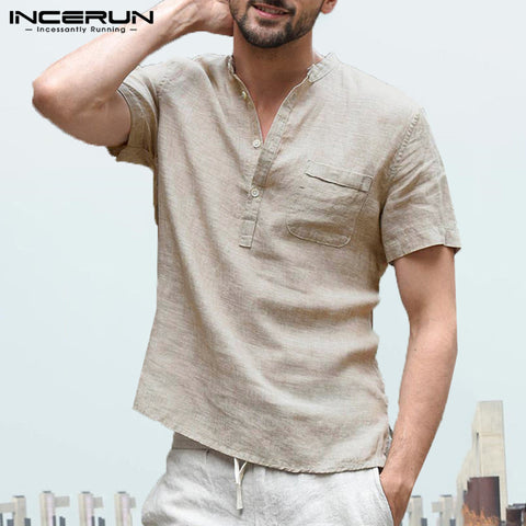 INCERUN Men's Shirts Stand Collar Short Sleeve Button Casual Blouse Streetwear Loose Summer Breathable Male Shirts Chemise 2020