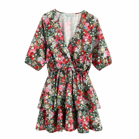 New 2020 women vintage v neck flower print cascading ruffles mini dress ladies elastic waist vestidos chic brand dresses DS3664