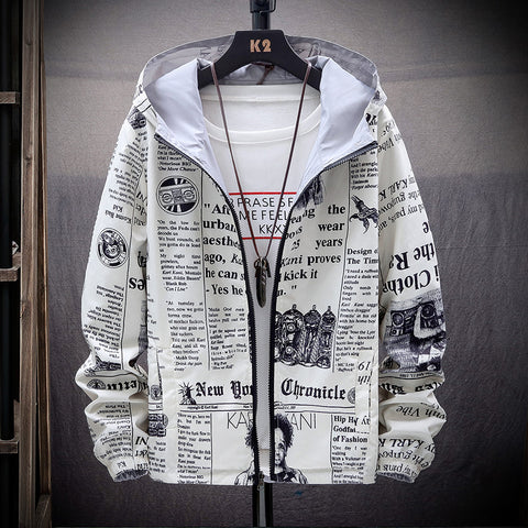 2020 New Strewear On both sides Newspaper Printed Fashion Jacket Men Thin Hooded Jackets Windbreakers  Clothing Plus Size