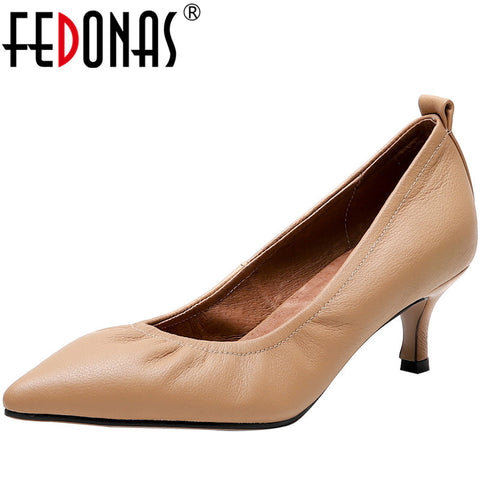 FEDONAS New Point Toe Shoes Women Pumps Women Spring Summer Party Wedding Shoes Fine Heels Genuine Leather Elegant Shoes Woman