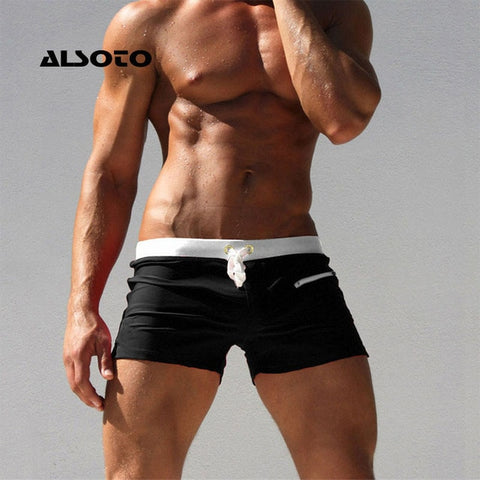 ALSOTO Men Swimwear Swimsuits Shorts New Board Shorts Trunks Pocket Mens Boxers Beach Board Shorts Bathing Suit