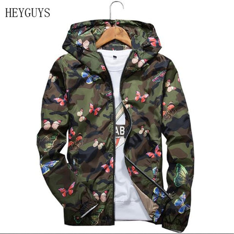 NAGRI Mens Casual Camouflage Hoodie Jacket 2020 New Autumn Butterfly Print Clothes Men's Hooded Windbreaker Coat Male Outwear