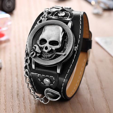 Men Steampunk Watches Flip Cover Skull Watches Men Leather Band Quartz Wristwatches With Chain mannen horloge reloj hombre 2019