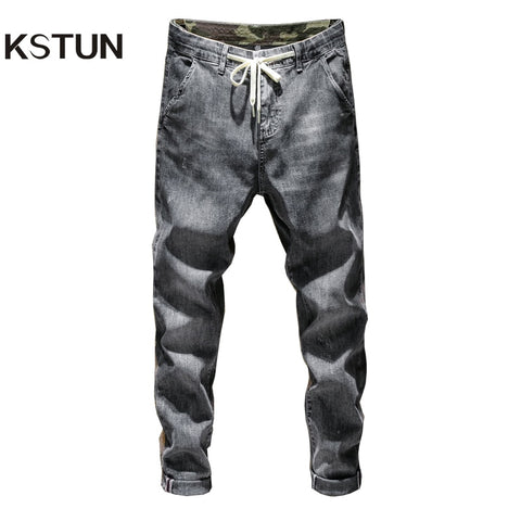 KSTUN Mens Jeans Grey Elasticity Thin Harem Drawstring Relaxed Tapered Denim Pants Casual Joggers Pants Streetwear Male Trousers