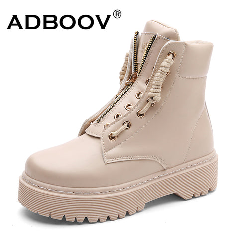 ADBOOV Zip Flat Ankle Boots Women PU Leather Motorcycle Boots Platform Martins Boots Fall Winter Shoes Woman Booties