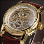 Men Wrist Watches Luxury Golden Skeleton Mechanical Steampunk Male Clock Automatic Wristwatch Leather Strap Herren Horloges