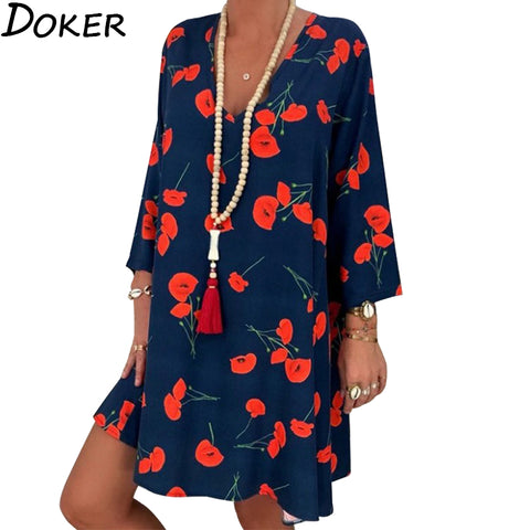 2020 Spring Summer Office Plus Size Dress Women Floral Print V-neck Long Sleeve Mini Dress Elegant Woman Loose Casual Dresses