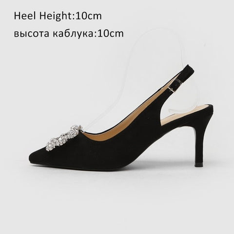 Women Pumps Fashion Ladies Rhinestone High Heels Shoes Soft Leather Heels Shoes Woman Pointed Toe Non-slip Brand Plus Size DE