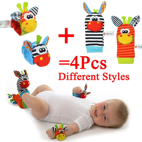 Sozzy Newborn Plush Sock Baby Toy Socks Animal Cute Cartoon Baby Rattles