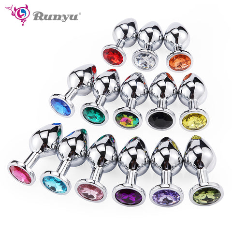 Runyu Toys for Adults Plug Anal Sex Metal Butt Plug With Jewelry Erotic Toy Mini Vibrator Anal Plug Private Good for Men/Women