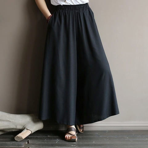 Original literature lazy wind oversized wide leg pants elastic waist drop feeling nine big leg spring and summe