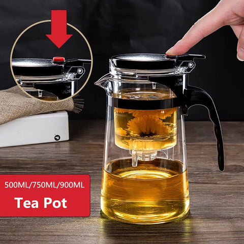 Tea Pots Heat Resistant Glass Tea Pot Tea Infuser Chinese Kung Fu Tea Set Kettle Coffee Glass Maker Convenient Office Tea Sets