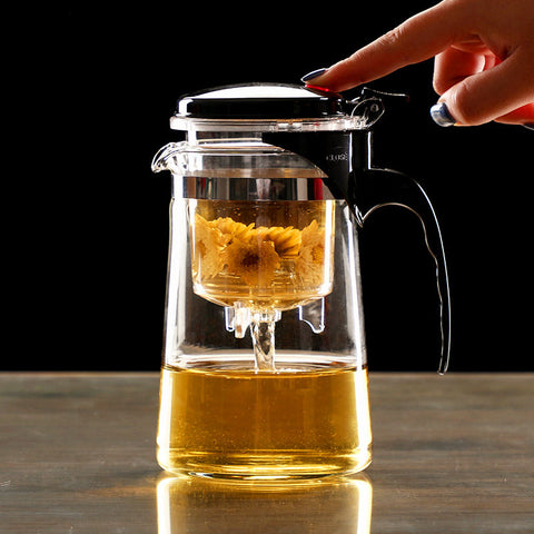 Heat Resistant Glass Tea Infuser Tea Pot Chinese Kung Fu Tea Set Puer Kettle Coffee Glass Maker Convenient Office Tea Sets