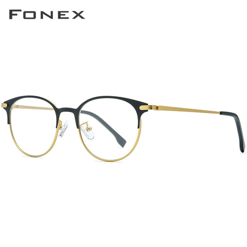 FONEX Alloy Glasses Frame Men Ultralight Women Vintage Round Prescription Eyeglasses Retro Optical Frame Screwless Eyewear 988