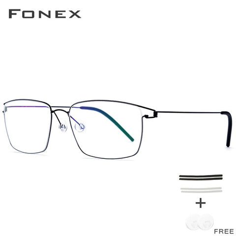 FONEX Titanium Alloy Glasses Frame Men Prescription Eyeglasses New Women Myopia Optical Korean Morten Screwless Eyewear 98624