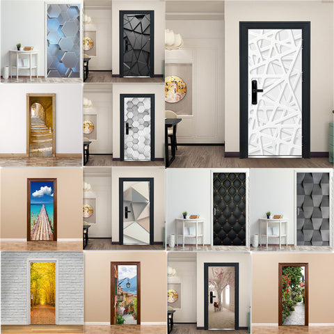 3D Door Decoration Wallpaper Modern Design Door Sticker Self-adhesive Waterproof Poster Home Door Renew Mural Decal deur sticker