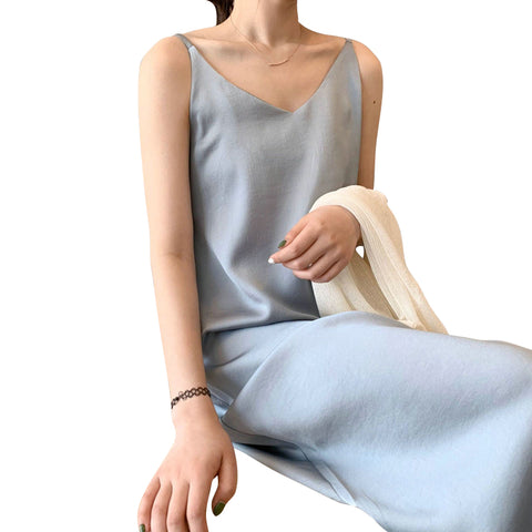 Tangada women solid color midi dress strap adjust sleeveless 2020 korean fashion lady elegant dresses vestido ASF03