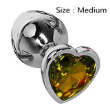 Heart shaped metal anal plug Sex Toys Stainless Smooth Steel Butt Plug Tail Crystal Jewelry Trainer For Women/Man Anal Dildo