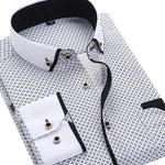 2020 Men Fashion Casual Long Sleeved Printed shirt Slim Fit Male Social Business Dress Shirt Brand Men Clothing Soft Comfortable